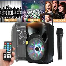 "12""BLUETOOTH*Portable LED KARAOKE PARTY PA DJ POWER SPEAKER SYSTEM Wireless Mic"
