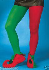 adulto rosso e verde elfo Calze GIULLARE FOLLETTO Costume Natale pantomime