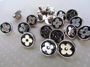 20 Black Silver Plated Blossom Flower Shank 14mm Sewing Plastic Button/trim Sb82