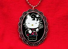 HELLO PUNK KITTY ROCKER CAT GUITAR PENDANT NECKLACE EMO