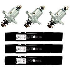 3 Spindles & Blades Fit John Deere LA130 LA165 D140 AM141033 GY21098 GY20454