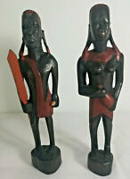 2 x African Hand Carved Wooden Tribal Warriors Figurines.
