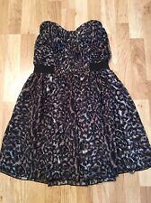LIPSY Women's Strapless Brown Animal Print Party Tulip Dress (size UK14)