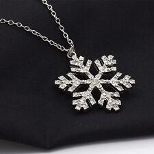 lange Halskette Schneeflocke Kette Anhänger Farbe Silber Steine  NEU 1158