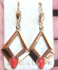 ITALY RED MOMO CORAL GEM QUALITY GORGEOUS 14K GOLD FILLED 47MM  DANGLE EARRINGS