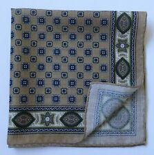 Wool & silk pocket square handkerchief. Light brown & green. Hand rolled