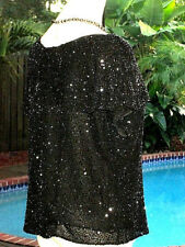 GLAM Badgley Mischka Bead+Sequin Top Blouse  SPECIAL OCCASION PIECE!  12 M FR42