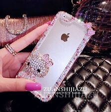 Pink Bling Glitter Crystal Hello Kitty Transparent Hard Case Cover for iPhone5/6