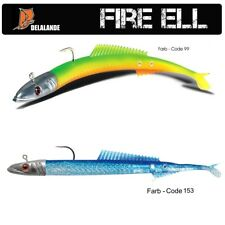 2 Stück DELALANDE Sandaal / Fire Eel +  fertig montiert 60g mit Glas-Rassel