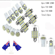 AU 13pcs Car White Interior LED Lights Kit 31mm Festoon T10 5SMD 8SMD Kit Bright