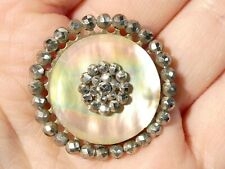 More details for 10 x 19thc mother of pearl mounted on cut steel buttons 30mm large size #t128a