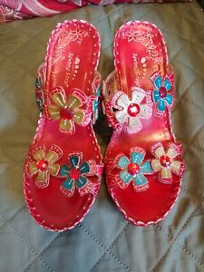 Spring Step Deandrea Leather Wedge Sandals, Shoes 6.5/37, Floral, # 2522