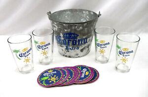 Corona Extra Beer Ice Bucket with 4 Glasses & Coasters Barware Set