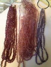 "1 Strand 13"" Each Pale Purple (center In Pic) 4mm Bicone Glass Beads L@@K SALE"