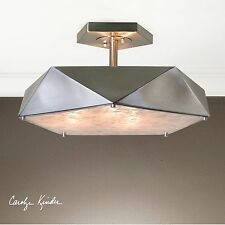 "TESORO URBAN MODERN 21"" SEMI FLUSH CEILING LIGHT CHANDELIER AGED NICKEL FINISH"