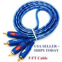 2RCA to 2RCA Cable Male Stereo Audio Video Cord Adapter Gold Plated 5FT