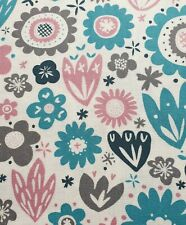 100% Cotton Fabric Freedom Blue Pink Floral Fabric - Half a Metre 50 x 112cm 0