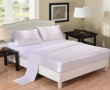 New Luxury Soft Satin Silk Feel Queen Sheet Set Fitted +Pillowcase+Flat - White