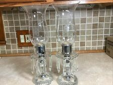 2 Matching Crystal Light Lamps With 8 Icicle Prisms - Elegant Looking 15� Tall