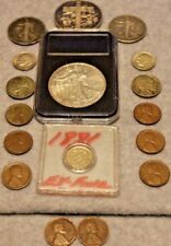 Mixed Silver Coin Lot-EAGLE/ROUND OZ./2 WALKERS/1881 3CENT/2ROSIE/8 WHEAT-PENNYS