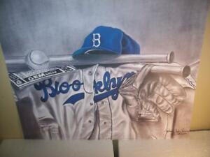 Brooklyn Dodgers Uniform, Cap, Bat, & Glove Lithograph by Robert Simon