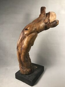 PV04517 Vintage Mid Century Wood Sculpture ARCHING FEMALE NUDE Marie Bailey 1965