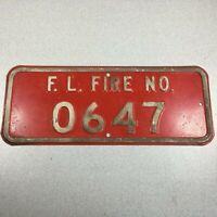 Vintage Enamel Steel Fire Department House No (Number) Sign Forest Lake, MN