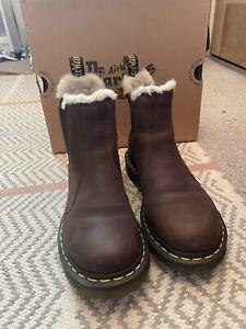 Doc Martens Lenore Fur Lined Dark Brown Size 5