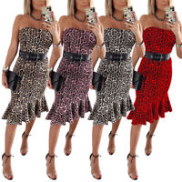 Women Sexy Leopard Print Sleeveless Club Dress Female Strapless Ruffled Dress B