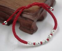 Pure S925 Sterling Silver Lucky Gift Oval Bead Red Cord Knitted Chain Bracelet