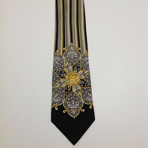 GIANNI VERSACE Silk Necktie ITALY Luxury STRIPED MEDUSA Black/Gray/Yellow GUC