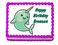 Pink and Blue Narwhal and 60 mini stars Edible Personalised Cake Topper