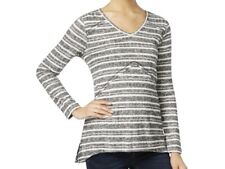 Style & Co. B/W Knit Striped Long Sleeves V-Neck Sweater Top XL