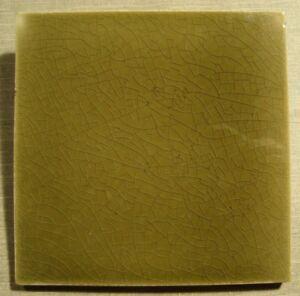 Brown - Olive Green Original period antique field tile 6x6 Art Nouveau Majolica