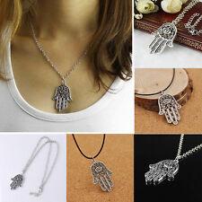 Hamsa Fatima Hand Pendant Evil Eye Charm Chain Good Luck Symbol Necklace