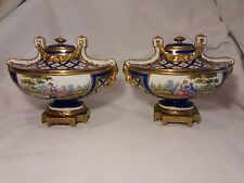 Sevres France Royal Blue & Gold Gilt Centerpiece Urn & Lid and Damaged 2nd Urn