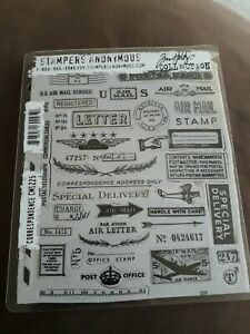 Tim Holtz Stampers Anonymous Correspondence Red Rubber Stamps *great* CMS225