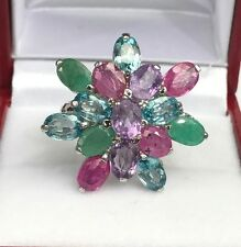 Solid .925 Silver Big Flower Cluster Ring, Natural Mix Stones , Sz 7