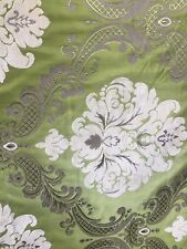 APPLE GREEN IVORY DAMASK CHENILLE UPHOLSTERY BROCADE FABRIC (54 in.) Sold BTY