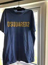 Dsquared2 Authentic Blue T Shirt With Yellow signature Print. Size XL.