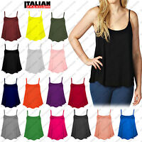 Womens Ladies Plain CAMI SWING VEST Top Sleeveless Strappy Flared Plus UK 8-26