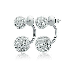 New Clear Czech Crystal Disco Ball Sterling Silver Plated Stud Earrings 1 Pair