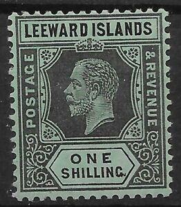 LEEWARD ISLANDS SG54a 1913 1/= BLACK/GREEN WHITE BACK MTD MINT