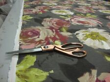 SERAPHINE FLORAL CHARCOAL DESIGNER CURTAIN / UPHOLSTERY FABRIC