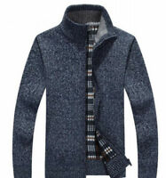 Warm Mens Stand Collar Sweaters Knitwear Long Sleeves Full Zip Short Coat Jacket