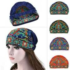 Women Chinese Ethnic Turban Hat Cap Head Wrap Scarf Embroidered Floral Hot