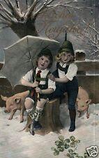 12666/ Künstlerkarte Glückwunsch zum Neuen Jahr, Glücksschweine, ca. 1910