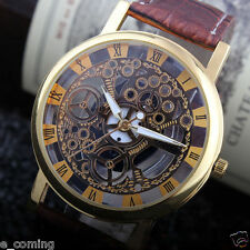 Skeleton Mens Wrist Watch Brown Leather Band Gold Quartz Stainless Steel Reloj