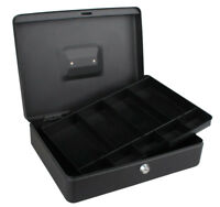 12 inch 300MM Large Cash Money Box With 2 Keys Black Petty Safe Removable Tray