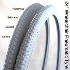 2Pcs 24'' Wheelchair Wheel Chair Pneumatic Tyre 24x1-3/8'' GREY